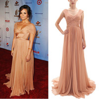 Demi Lovato 2014 ALMA Awards Champagne Formal Evening Gown Red Carpet Celebrity Dresses Off Shoulder And