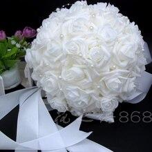 Romantische Hochzeit Brautjungfer Rose Perlen Künstliche Blumen Braut Bouquets Handmade Hochzeit Bouquets