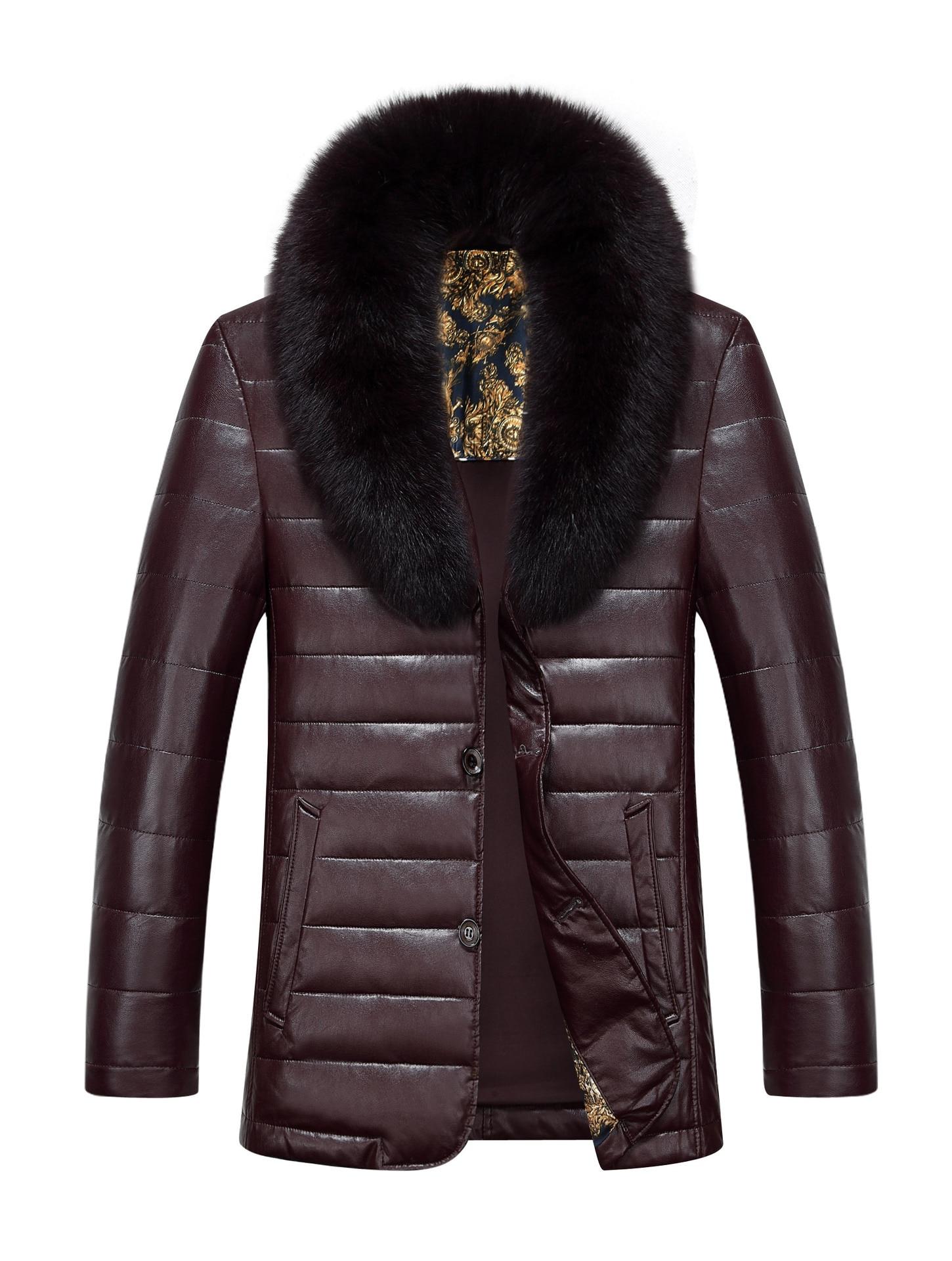 De Gros Veste Masculine Vison red Mouton D'hiver En Col Brown Peau Hommes 1312 Le Manteau Cuir jaune Nouvelle Bas Vers Mode Noir qw8TTtF