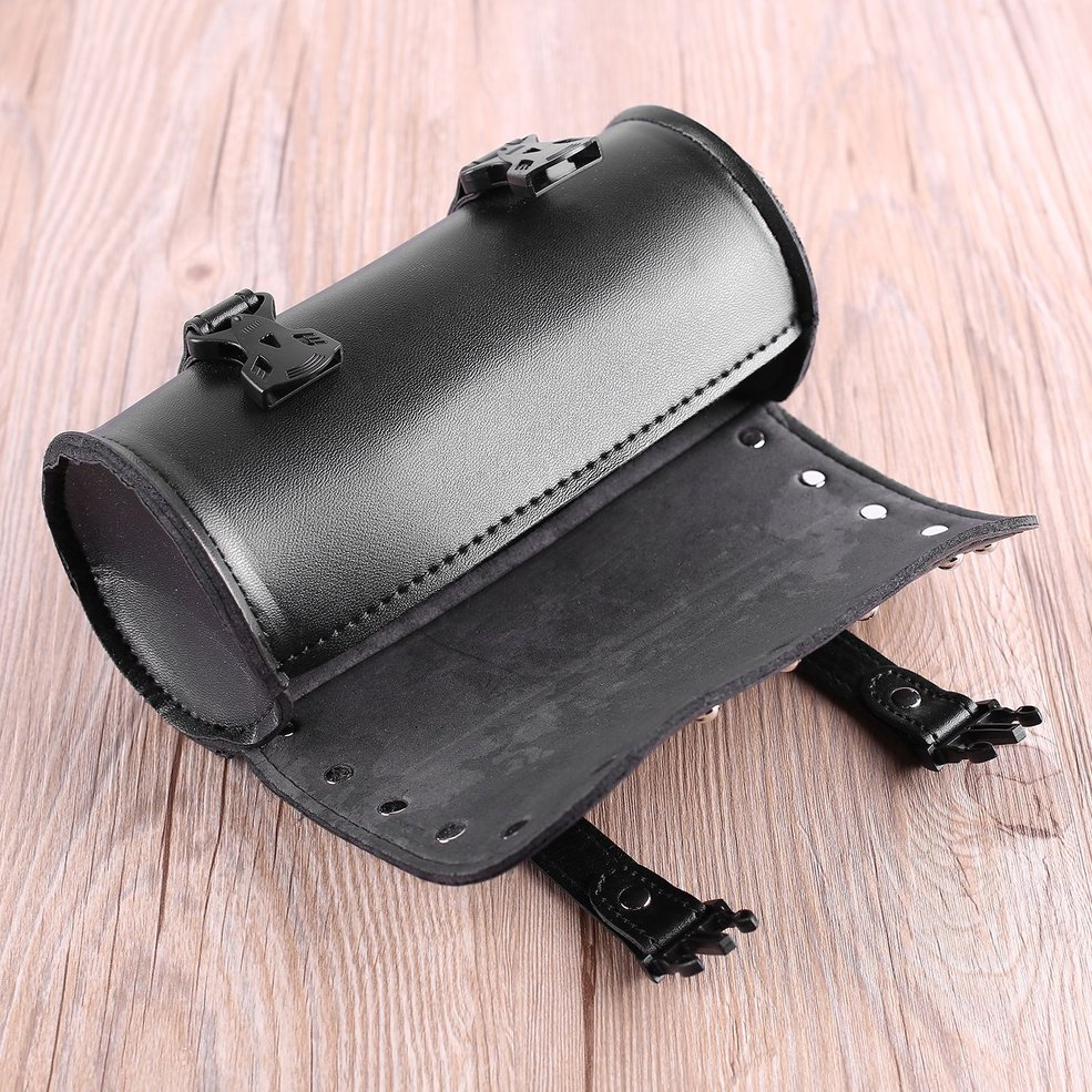 Universal Motorcycle PU Leather With Plastic Buckles Tool Bag Luggage Saddlebag Roll Barrel Multi-functional Storage Bag