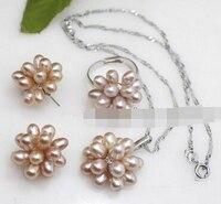 Bijoux 001396 naturel 6 - 7 mm violet riz perles d'eau douce Cluster boucles d'oreilles collier anneau ensemble