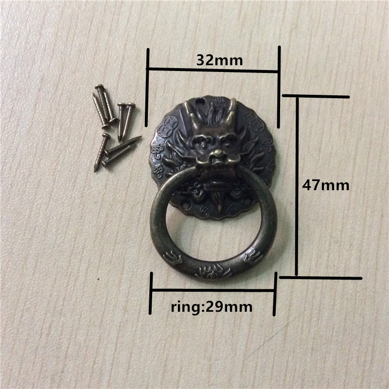 Chinese Vintage Dragon Head Furniture Door Pull Handle Alloy Cabinet Dresser Drawer Knobs Small Ring Handle,32*47mm,20Pcs vintage flower alloy door handles cabinet drawer wardrobe closet pull handle furniture decorative knobs single hole 96mm 128mm
