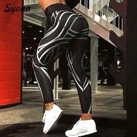 Stretch Leggings Breathable Fitness Pant Workout Push Up Hip For Women Shiny Striped Capri Leggins Lift Squat Casual Strip line
