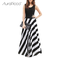 Bohemian White And Black Striped Patchwork Long Maxi Dress Casual Slim Sleeveless Big Swing Party Dress