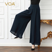 VOA плюс Размеры свободные тяжелый шелк брюк середины талии Темно синие Широкие штаны Твердые Краткая Повседневное Для женщин Palazzo Брюки Вес