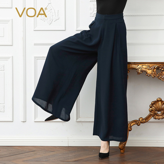 ac09a30fce1 VOA Plus Size Loose Heavy Silk Trouser Mid Waist Navy Blue Wide Leg Pants  Solid Brief Casual Women Palazzo Pants Spring K329