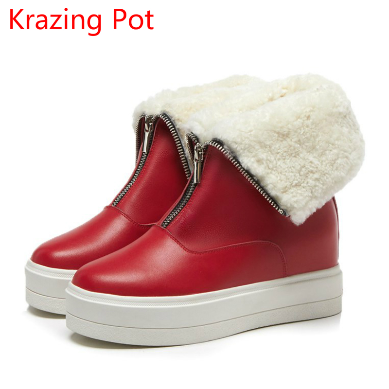 2018 Superstar Cow Leather Zipper Keep Warm Wedge Round Toe Fashion Winter Boots Platform Round Toe Mid-calf Boots for Women L19 nayiduyun women genuine leather wedge high heel pumps platform creepers round toe slip on casual shoes boots wedge sneakers