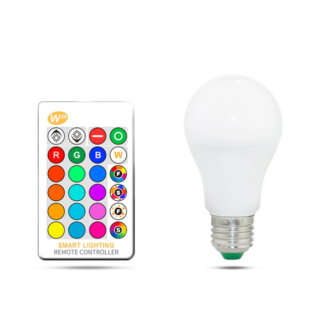 RGB LED Bulb Light E27 5W 10W 15W Dimmable LED RGB Lamp Multicolor Changeable+IR Remote Control RGB Lampada Indoor Lighting Lamp