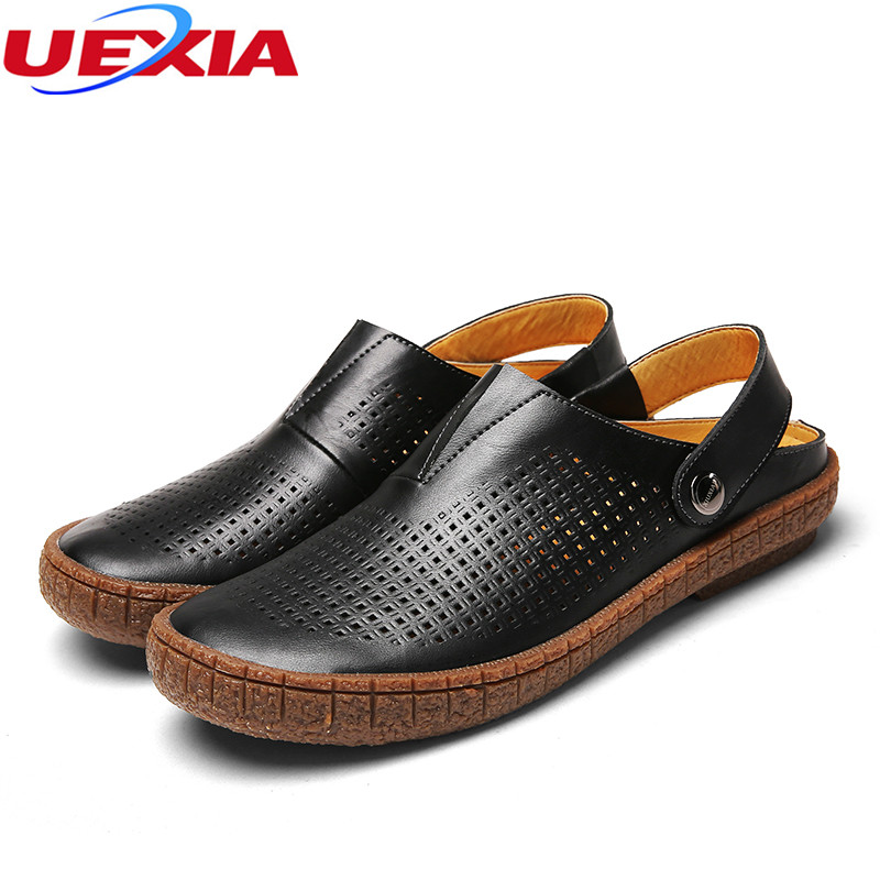UEXIA Leather Fashion Men Shoes Handmade Summer High Quality Flats Casual Comfortable Rubber Soles Beach Shoes Footwear Non-slip dxkzmcm genuine leather men loafers comfortable men casual shoes high quality handmade fashion men shoes