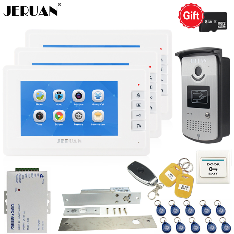 JERUAN New 7`` LCD Screen Video Doorphone Voice/Video Recording Intercom system kit 3 White Monitors + RFID Access IR Camera 1V3