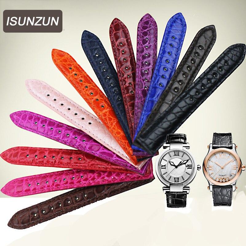 Пользовательские цвета Аллигатор крокодиловая кожа, женские часы ремни для Chopard ремень браслет для часов 14 15 17 18 19 20 мм