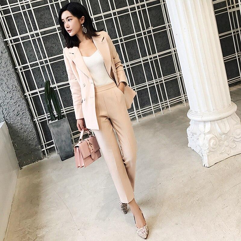 BGTEEVEER Casual 2 Pieces Set Women Pant Suits Notched Collar Blazer Jacket Ankle length Pants OL