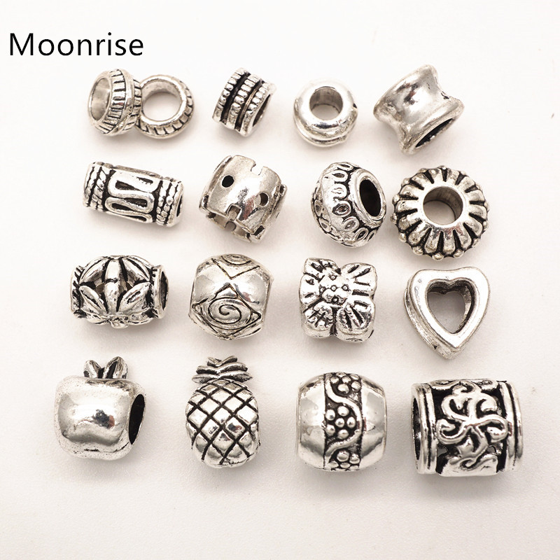 20pcs Silver Carve Oval Big Hole Beads Fit Leather Cord Jewelry DIY Making