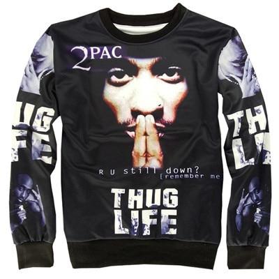 Alisister new fashion THUG LIFE sweatshirt Women Men Tupac 2PAC sweatshirt ROCK hoodie Pullover clothing crewneck sweat shirts