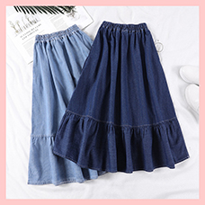 Denim-Skirts-Women-Solid-Color-Long-Spring-Summer-A-Line-High-Waist-Female-Long-Skirt-Plus