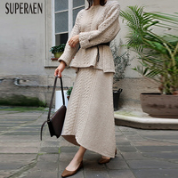 SuperAen Fashion Knit Women's Sets Autumn and Winter 2018 New Korean Style Pullovers Sweater Loose Skirts Two Pieces Female