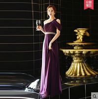 New 2015 Purple One Shoulder Chiffon Beads Maid Of Honor Dresses With Sleeves Long Cheap Cheap