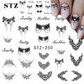 STZ 1 Hojas DIY Collar de la Joyería de Diseño de Moda Negro Etiqueta Engomada Del Arte de Transferencia de Agua Tatuajes de Manicura Herramientas de Peinado STZ249-251