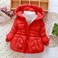 Jaqueta de inverno 2016 crianças casaco de inverno do bebê 1-4 T Crianças Meninas de Inverno Com Capuz Casaco Para Espessura de Um quente revestimento do bebê