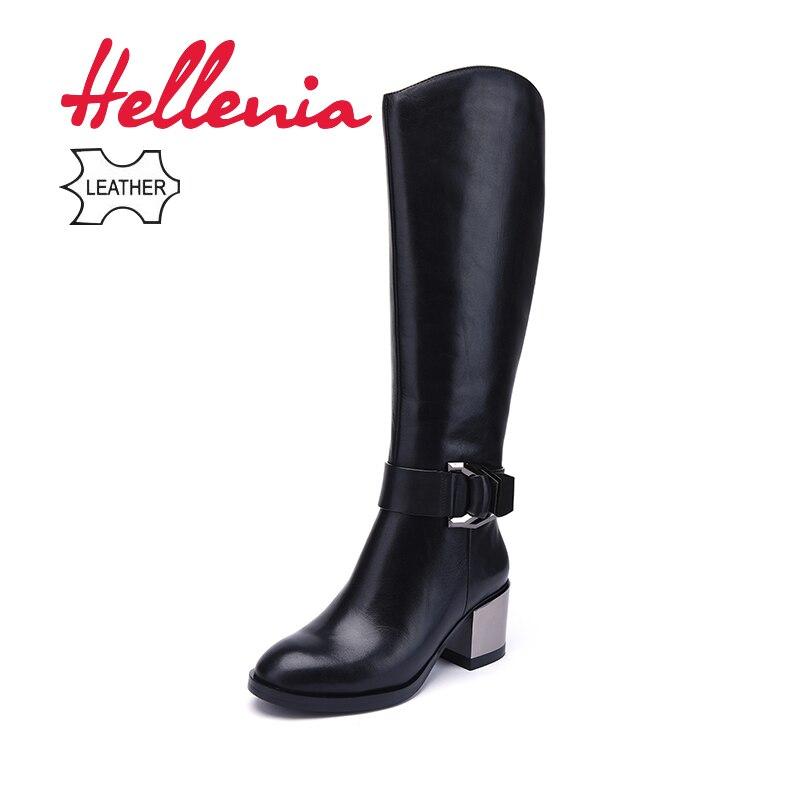 Hellenia Marque Femmes Hiver Automne Véritable Cuir Femmes Haute Qualité Genou Haute Bottes En Peluche Chaud Zip Fourrure doublure Bout Pointu chaussures