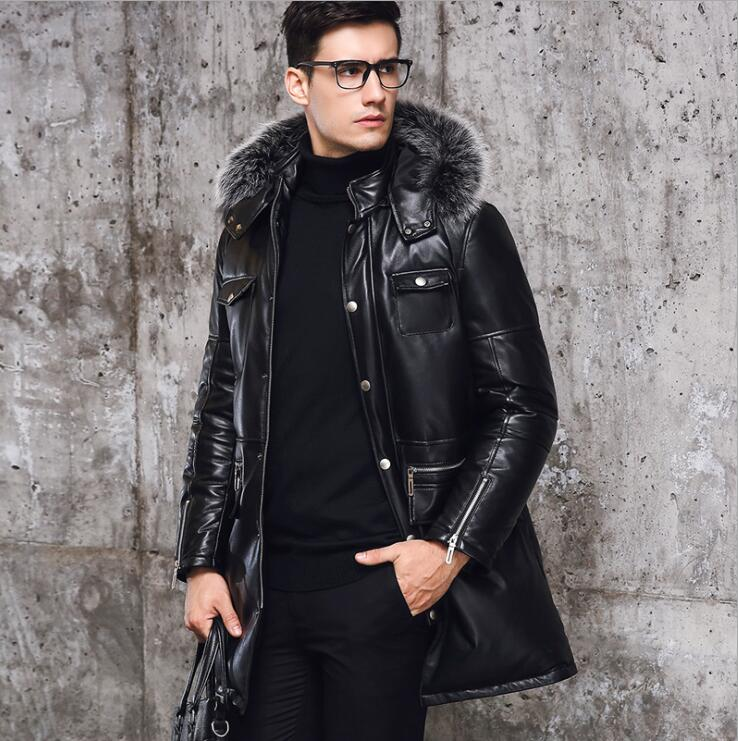 Peau de mouton cuir hiver blanc canard doudoune en cuir véritable hommes manteau en duvet réel renard col en fourrure hommes long hiver manteau L-8XL