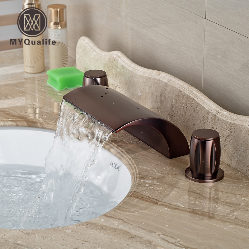 Oil Rubbed Bronze Waterfall Spout Deck Mount Basin Sink Faucet Dual Handles Bathroom Hot Cold Mixer Taps new arrive dual square handles waterfall spout bathroom sink basin faucet brushed nickel deck mount