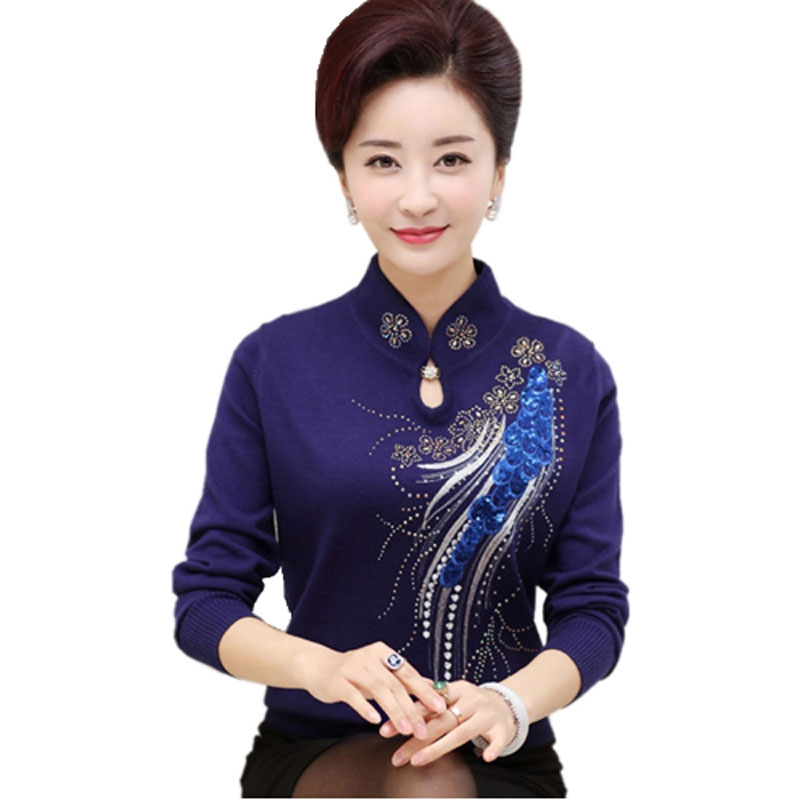 2017 Spring And Autumn New Women Sweater Women Bottoming Shirt Mother Clothing  Middle-aged Women Long Sleeves Sweater QH0192