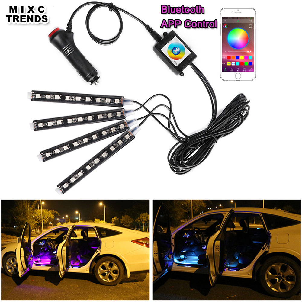 4Pcs Bluetooth APP Control Car RGB LED Strip Lights Car Styling 9 led - Luces del coche - foto 1