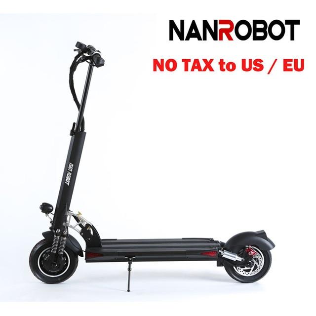 NanRobot D5+ Adult Electric Scooter 10'' Foldable Lightweight 2000W 52V 26AH Top Speed 40 MPH 50 Miles Range 2 Wheel kick