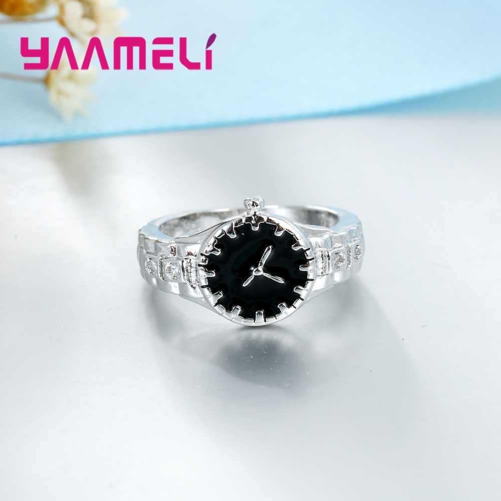 Новинка подарки Ювелирные изделия таинственный кристалл камень день рождения Юбилей часы модель 925 пробы серебряные кольца CZ для женщин