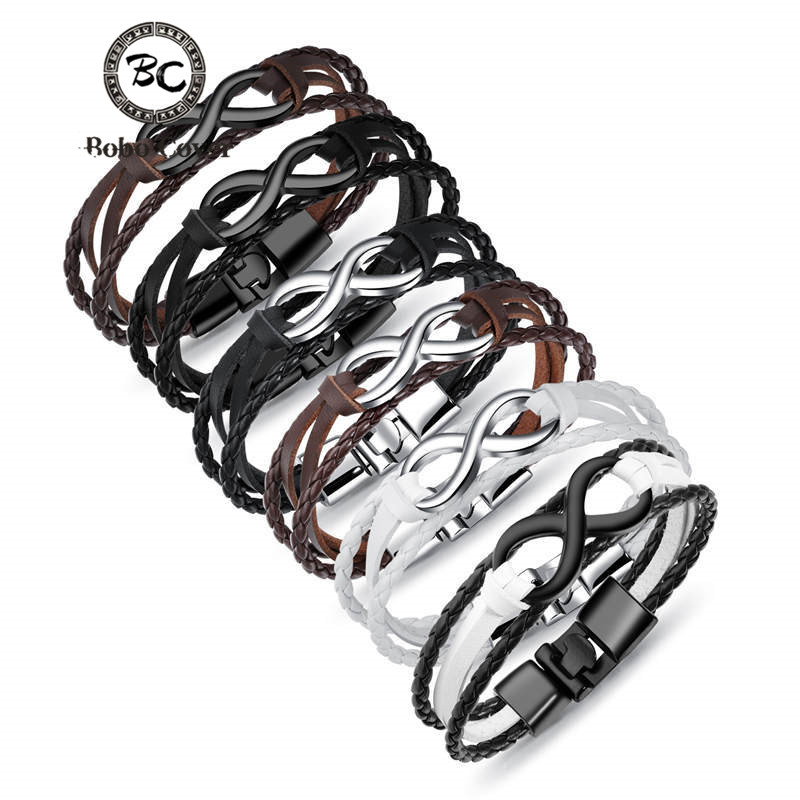 Genuine Black Leather Double Infinity Charm Bracelet for Men