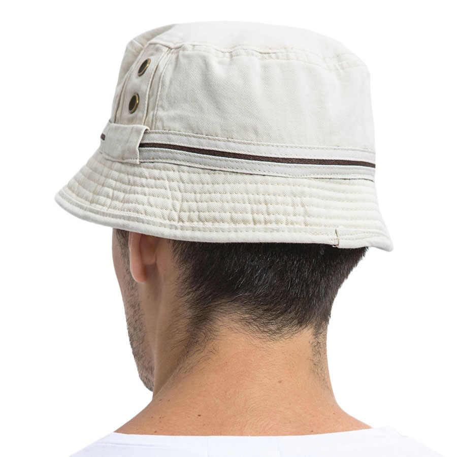 VOBOOM verano Beige cubo sombrero hombres liso ancho Brim sarga algodón Boonie Giggle sombreros ojales gorra de sol Panamá pesca 102