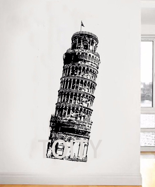 Leaning Tower Of Pisa Wall Sticker Italy Cathedral Bell Vinyl Decal Home Room Interior Art