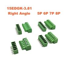 5pcs Pitch 3.81mm Screw Plug-in PCB Terminal Block 15EDGK RC 5 6 7 8 Pin Right Angle male/female Pluggable Connector morsettiera стоимость
