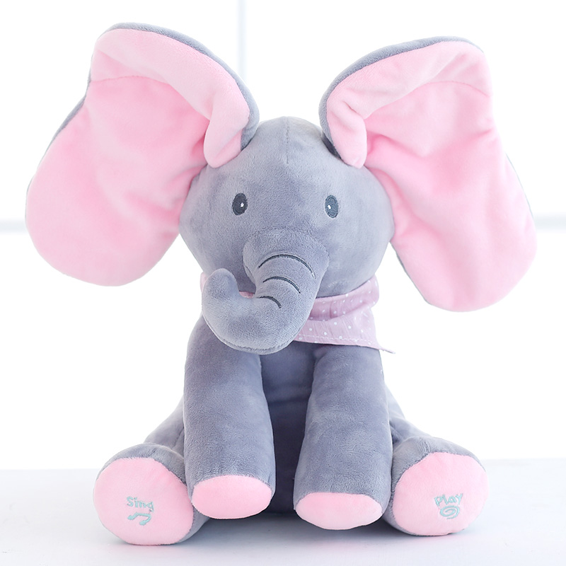 30cm Peek a <font><b>boo</b></font> Elephant Play Hide and Seek Toy <font><b>Lovely</b></font> Stuffed Electric Music Elephant Cute Kids <font><b>Baby</b></font> Doll Birthday Gift
