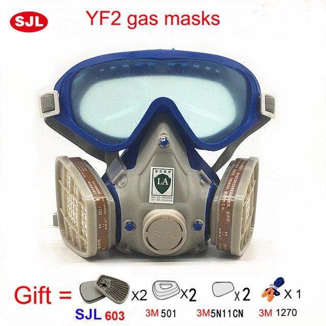 456544a2c4cb3 SJL máscara de Gás com óculos cara cheia máscara protetora pintura química  activado máscaras de carbono