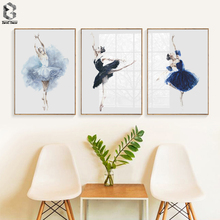 Watercolor Ballerina Girl Wall Art Print Canvas Painting Nordic Poster And Prints Pictures For Living Room Decor