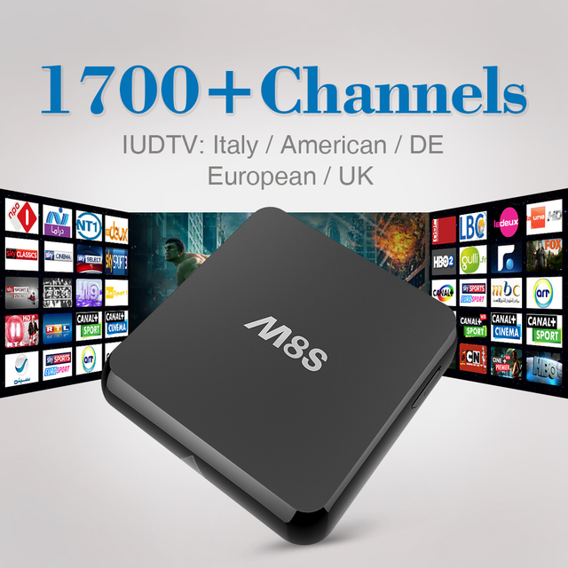 M8S Android Smart TV Box Amlogic S812 Con Free HD 1700 IPTV canales Europa REINO UNIDO Suecia Italia África TV Set Top Box Árabe Francés