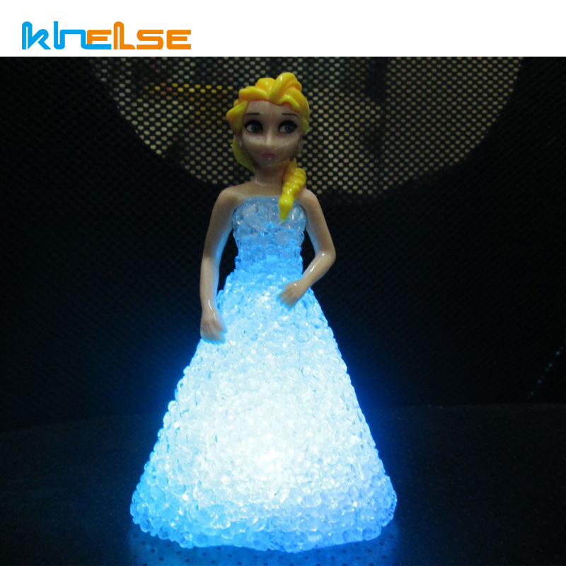 Drop ship Kids Toys Elsa Anna LED Colorful Lights crystal lamp led Night Light lamp for children battery christmas holiday gift