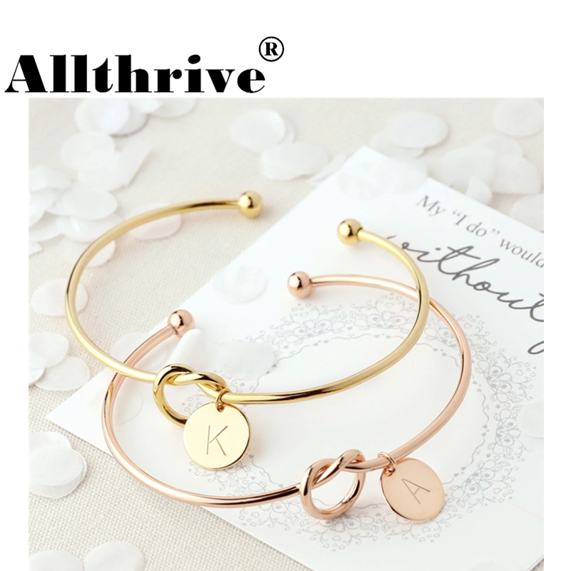 26 Letter Gold Silver Color Knot Heart Bracelet Bangle Girl Fashion Jewelry Alloy Round Pendant Chain & Link Bracelets for Women