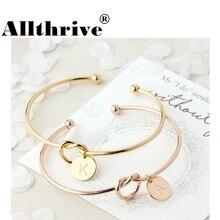 26 brief goud zilver kleur knoop hart armband meisje mode-sieraden legering ronde hanger ketting & link armbanden voor vrouwen