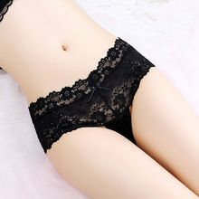 1Pcs Lace Floral Briefs Thongs Women Underwear Sheer Transparent Floral Panties Seamless Breathable G-string Nightwear