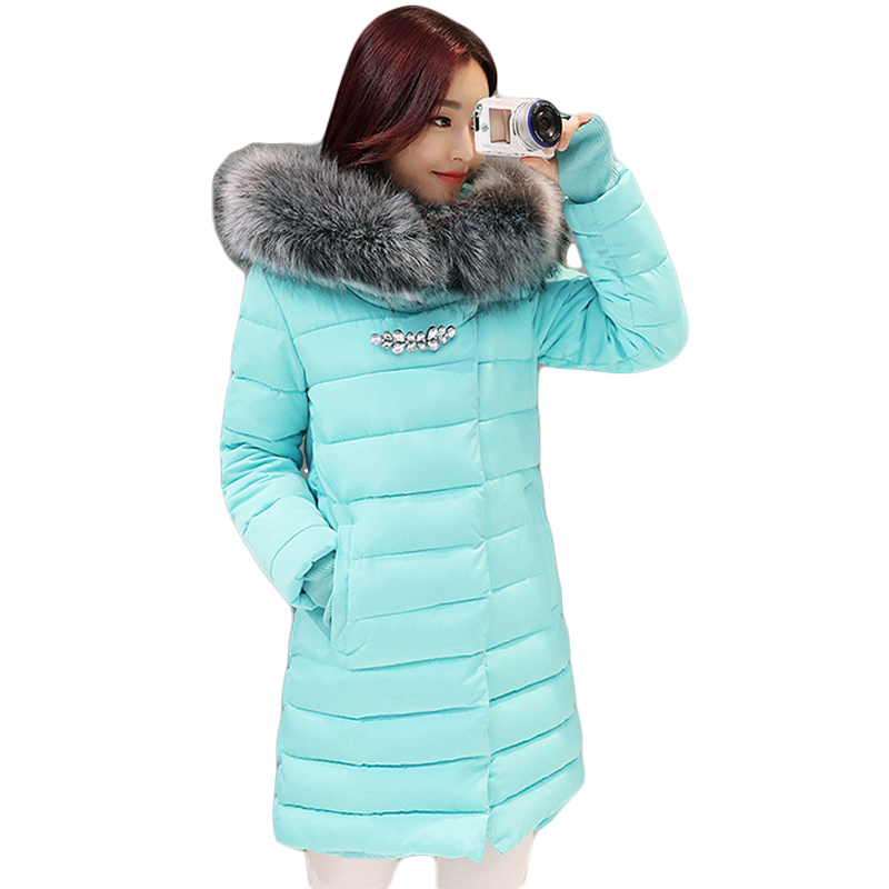 2017 New Winter Jacket Women Long Slim Large Fur Collar Hoode Women  Cotton coat Thick Female Wadded Jacket Plus Size parka 2017 new winter jacket women long slim large fur collar hooded down cotton parkas thick female wadded coat plus size 4xl cm1373