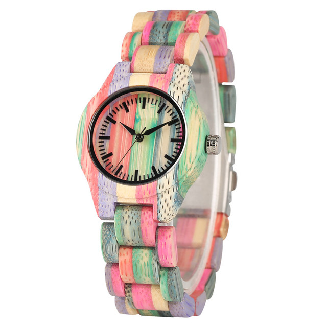 Handmade Bamboo Quartz Watch Movement for Women Colorful Casual Bamboo Watches Super Lightweight Bamboo Wooden Wrist Watches | Fotoflaco.net
