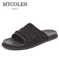 MYCOLEN/мужские тапочки; повседневная обувь черного цвета; нескользящие шлепанцы для ванной; высококачественные летние сандалии на мягкой под
