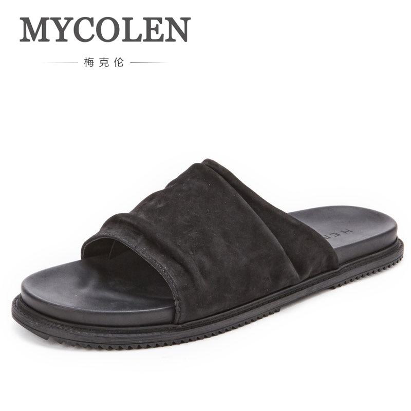 MYCOLEN Men Slippers Casual Black Shoes Non-Slip Slides Bathroom High Quality Summer Sandals Soft Sole Flip Flops Man