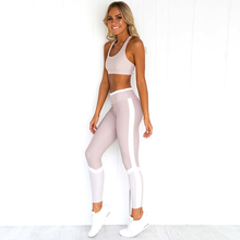 2019 Women 2 Piece Set Tracksuit and Pants for Fitness Crop Top with Leggings Female Pink Two Outfits