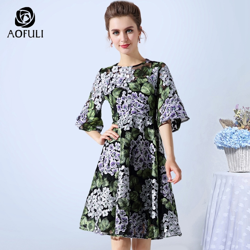 Detail Feedback Questions about AOFULI L XXXL 4XL 5XL Flowers Embroidery  Ball Gown Dress 2018 Summer Half Flare Sleeve Party Dress Sexy See through  Mesh ... 464f29f45f02