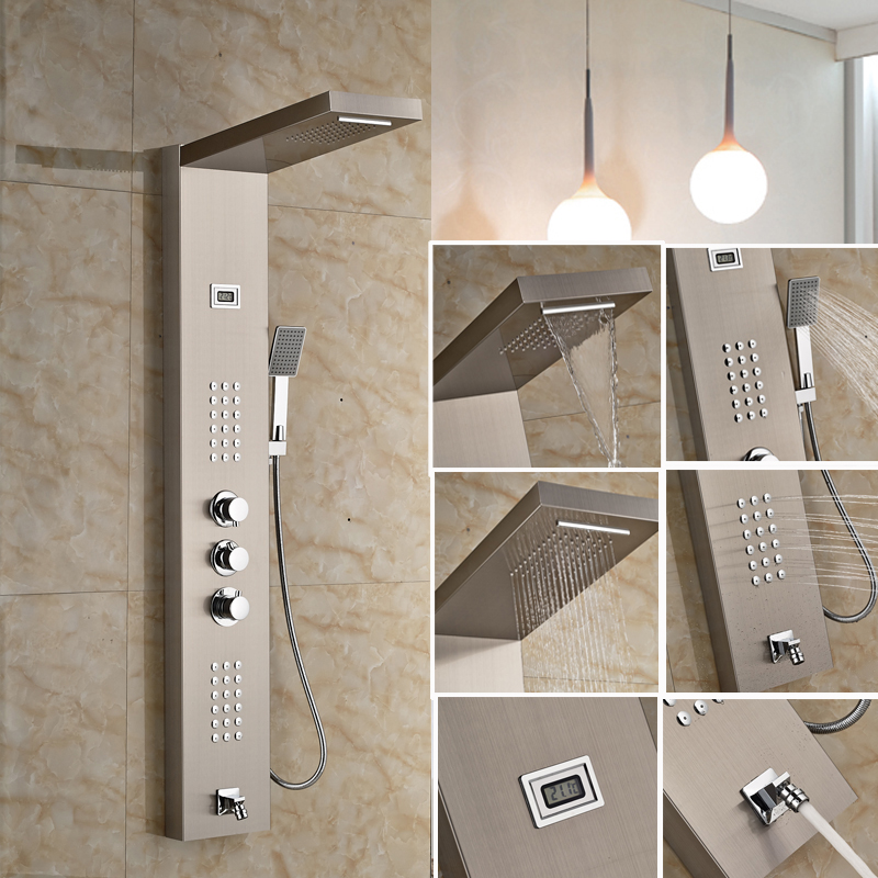 Modern Stainless Steel Rain Waterfall Shower Panel Wall Mounted SPA Massage  System Shower Column Kit With Jets Handshower In Shower Faucets From Home  ...
