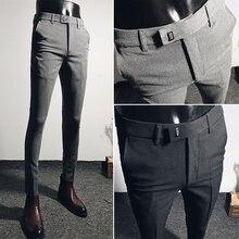 Mens Slim Fit Casual Suit Pants Skinny Korean Business Trousers Pant X22